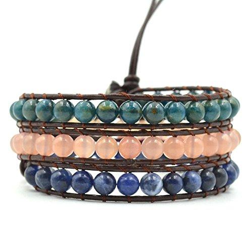 Healing Crystals Apatite Sunstone Sodalite Charged Natural Stones Chakra Yoga Wrap Bracelet