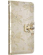 NSSTAR Compatibile con iPhone 6/6S/7/8/SE 2020 Funda de Cuero Diamond Flip Wallet Case,360 Grados Full Body Cover Anverso y reverso PU Carcasa de cuero con abeja en relieve con cordón,dorado/