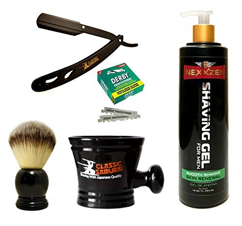 Classic Samurai Men's Shaving Set with CS-102 Matte Black Folding Straight Razor Shavette, 100 Derby Single Blades, Synthetic Shaving Brush, Shaving Gel 16oz. and Porcelain Mug -