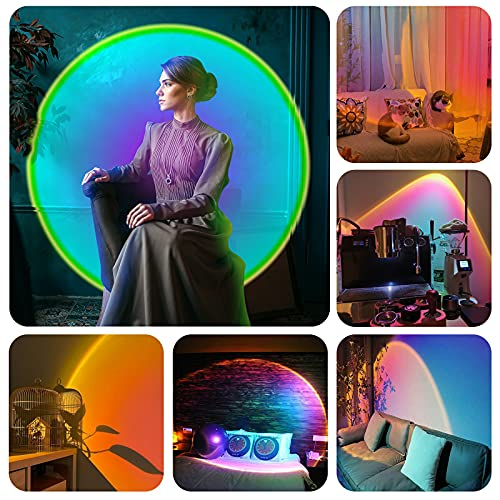 Sunset Projection Lamp 16 Colours Projector 180° Rotation RGB COB Visible LED Rainbow Mood Night Light USB with Remote Control for Photography Vlog Party Background and Indoor Decor