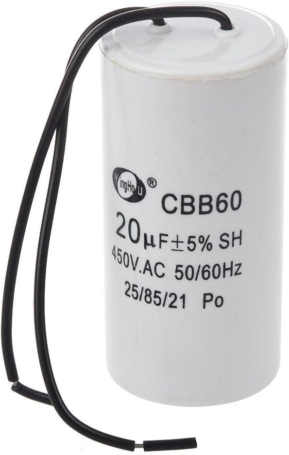 SODIAL(R) CBB60 20uF Condensador SH de funcionamiento del motor cilindro de plomo de alambre AC 450V