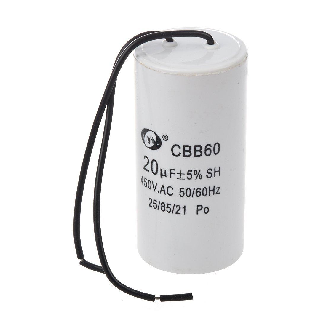 SODIAL(R) CBB60 20uF Wire Lead Cylinder Motor Run SH Capacitor AC 450V 010695