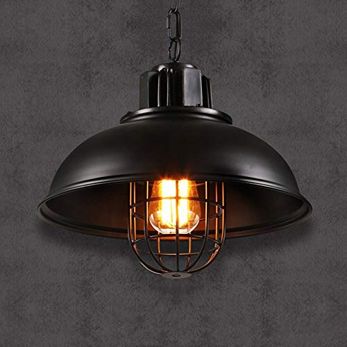 - V.JUST Modeen Vintage Industrial Chandelier Fisherman Metal Cage Lampshade Loft Ceiling Pendant Light Black Iron, E27 Light Source Adjustable Chandelier Lamp for Living Room Restaurant Bar Pub