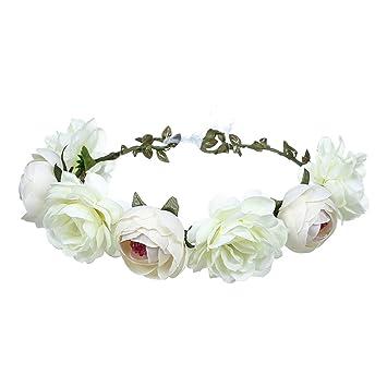 Flower Headband Peony Flower Festival Holloween Wedding Floral Garland Crown Bridal Hair Wreath Headwear
