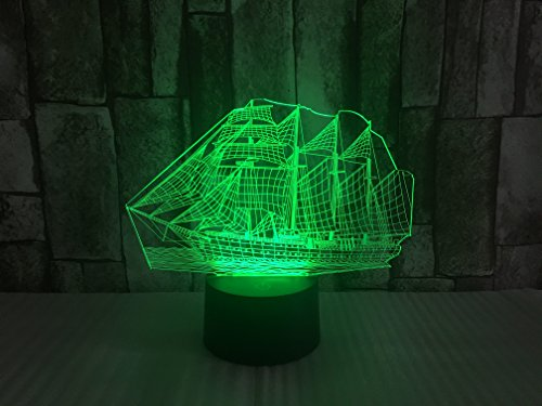 JYIFA 3D LED sailboat Cartoon Lamp 7 Color Change Optical Illusion Touch Mood light USB powered Bedroom Decorative Night Light Multi for Christmas Gifts