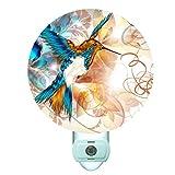 Abstract Hummingbird Decorative Round Night Light