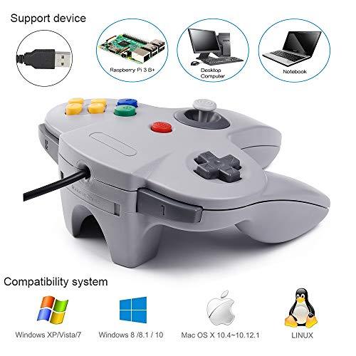 kiwitatá N64 Classic 64 USB Controller,Retro N64 Bit Wired Game Controller  Gamepad for Windows PC & Mac Raspberry Pi Gray