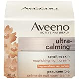 Aveeno Ultra-Calming Night Cream, Fragrance Free Face Moisturizer, 48 mL