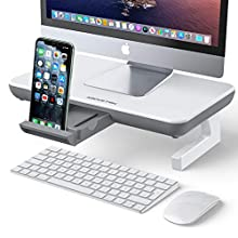 Monitor Stand Riser, AboveTEK Adjustable Computer Stand with Storage Drawer, Computer Desk Organizer with Cable Management, Phone Holder for Computer, Desktop, iMac, Printer - White & Gray