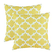 Pack of 2 CaliTime Throw Pillow Covers 20 X 20 Inches, Quatrefoil Accent Geometric, Yellow