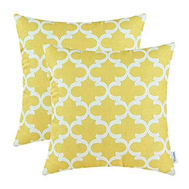 Pack of 2 CaliTime Throw Pillow Covers 18 X 18 Inches, Quatrefoil Accent Geometric, Yellow