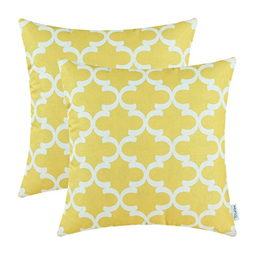2 Throw Pillow Covers Quatrefoil Geometric 18 X 18