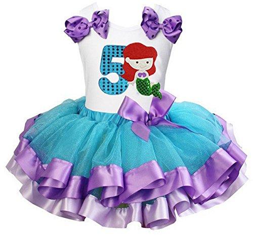 Kirei Sui Girls Blue Lavender Satin Trimmed Tutu Number 5 Mermaid Birthday Dress Small