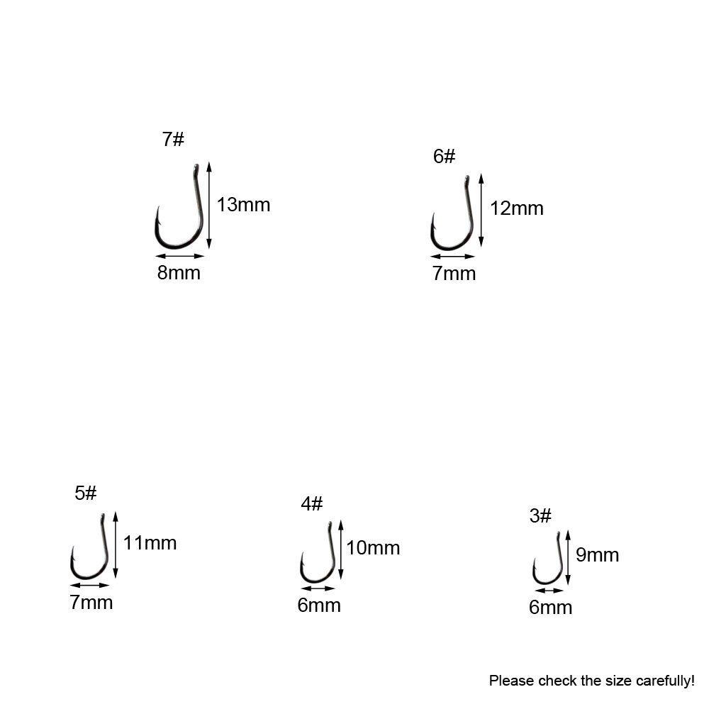 10 diversos tama/ños 3 a 12 ganchos de pescados MINGZE 500 pzs anzuelos ganchos de pesca del cebo de p/úas del acero de carbono negro
