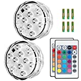 Puroma 2 Pack RGB Submersible LED Lights Remote Controlled 16 Color Changing Waterproof Lights with 6 Batteries for Aquarium Swimming Pool Vase Base Fountain Garden Party Weeding Christmas Halloween