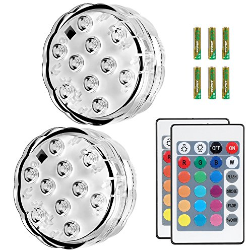 Puroma 2 Pack RGB Submersible LED Lights Remote Controlled, 16 Color Changing Waterproof Lights with 6 Batteries for Aquarium Swimming Pool Vase Base Fountain Garden Party Weeding Christmas Halloween -