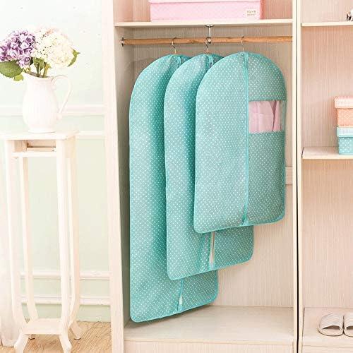 洋服カバー セット3ポリエステル生地ガーメントバッグスーツバッグ旅行や衣料品収納のドレスドレスシャツコートジッパーが含まれています 収納と旅行用 男女兼用 (Color : Green, Size : L+M+S)