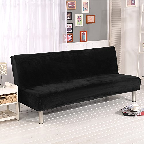 19V78 Luxury Soft Furniture Stretch Fabric Black Plush Sofa Cover No Armrest Sofa Slipcovers Couch Chair Cover Solid Color