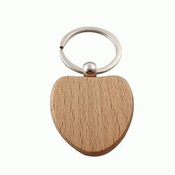 youkara en forma de corazón de madera clave cadena anillo ...