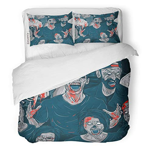 Semtomn Decor Duvet Cover Set King Size Colorful Pattern Zombie Walking Out Monster Skull Nightmare Brain 3 Piece Brushed Microfiber Fabric Print Bedding Set -