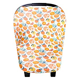 "Baby Car Seat Cover Canopy and Nursing Cover Multi-Use Stretchy 5 in 1 Gift""Citrus"" by Copper Pearl"