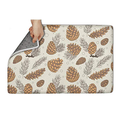 fhmatx Pinecone Bath Mat Kitchen Mat Non Slip Soft and Washable Doormat Cute Funny Welcome Floor Mat for Outdoor Or Indoor,23.5 X 15.5 Inch