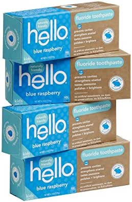Hello Oral Care SLS Free Fluoride Toothpaste for Kids Age 2 and Above, Blue Raspberry, 4.2 Ounce (Pack of 4)