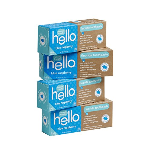 Hello Oral Care SLS Free Fluoride Toothpaste for Kids Age 2 and Above, Blue Raspberry, 4 Count
