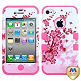 Cell Accessories For Less (TM) Apple iPhone 4S/4 Spring Flowers/Electric Pink TUFF Hybrid Case Cover Bundle (Stylus & Micro Cleaning Cloth) - By TheTargetBuys
