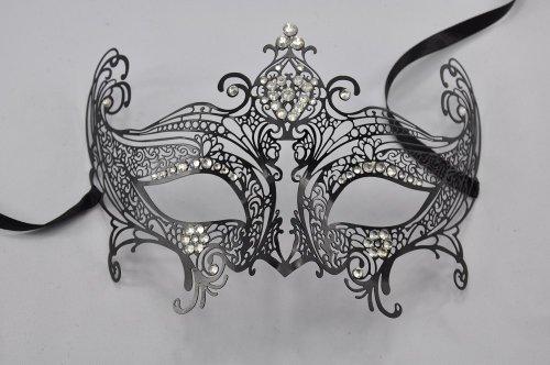 Executioner Black Laser Cut Venetian Mardi Gras Masquerade Mask with Sparkling Rhinestones