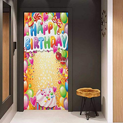 Onefzc Wood Door Sticker Birthday Vivid Colored Frameworks with Many Balloons and Cupcake Cherry and Hearts Print Easy-to-Clean, Durable W30 x H80 Multicolor ()