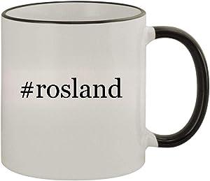 #rosland - 11oz Ceramic Colored Rim & Handle Coffee Mug, Black
