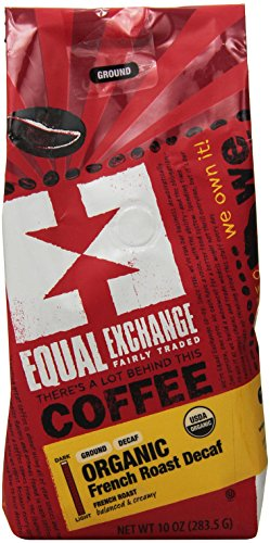 Equal Exchange Organic Ground, French Roast Decaf, 10-Ounce Bag 1 Contains 1 bag, 10 oz per bag (10 oz) Bold Dark Decaf French Roast Coffee Grounds Balanced with Creamy Malted Chocolate & a Bittrsweet Finish French Roast Blend