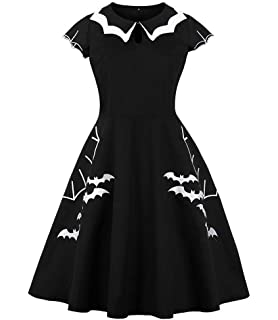 06236ab44e1e Fenxxxl Women s Plus Size Bat Embroidery Contrast Doll Collar 1950s Vintage  Swing Addams Dress