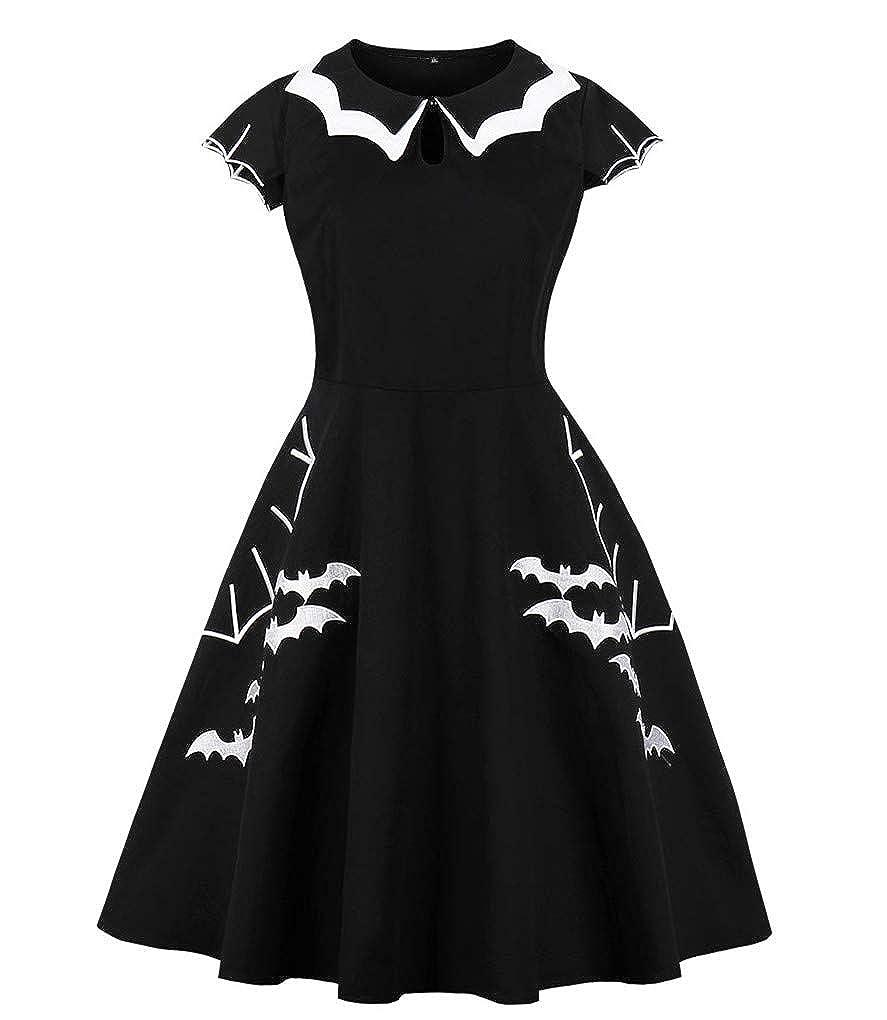 Fenxxxl Women's Plus Size Halloween Bat Embroidery 1950s Vintage Swing Dress