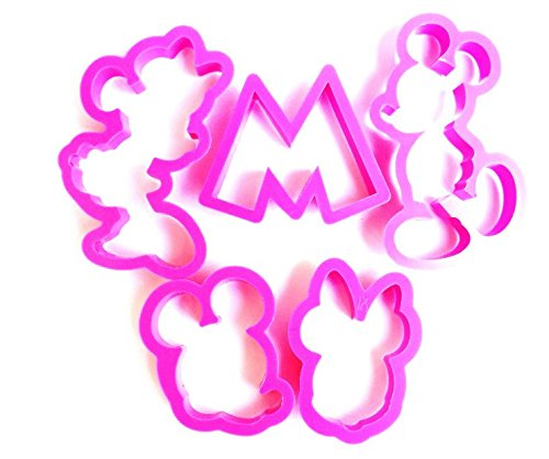 5 PC Mickey Mouse and Minnie Mouse Disney Cookie Cutters Set - Quality Baking Tools from Bakell (Cheap Minnie Mouse Ears)