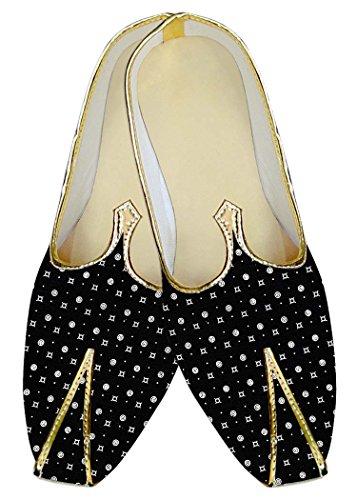 INMONARCH Herren Schwarze Hochzeit Schuhe Weiß Polka MJ014433