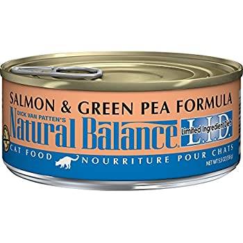 Natural Balance L.I.D. Limited Ingredient Diets Canned Wet Cat Food, Grain Free, Salmon & Green Pea Formula, 5.5-Ounce Can (Pack of 24)