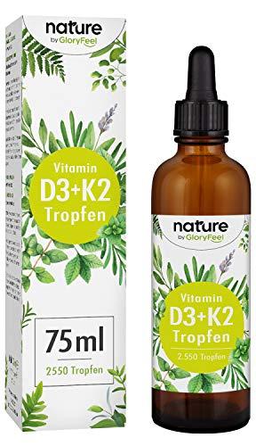 Vitamin D3 + K2 75ml (2550 Tropfen) - Premium: 99,7+% All-Trans (VitaMK7® von Gnosis) 99,7% All Trans + hoch bioverfügbares D3 - Laborgeprüft ohne Zusätze hergestellt in Deutschland