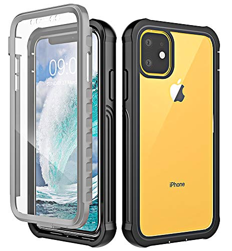 Huness iPhone 11 Case, Clear Full Body Heavy Duty Protection with Built-in Screen Protector Shockproof Rugged Cover Designed for iPhone 11 6.1 Inch Cases (2019) (Black)