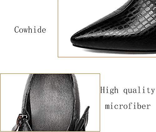 BFMEI Femme Ceinture Chaussures Chaussures Talons Cuir de épais Profonds Talons NOIR Automne à Boucle en nrBrYCq1w