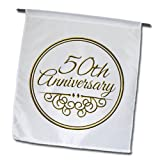 InspirationzStore Occasions – 50th Anniversary gift – gold text for celebrating wedding anniversaries – 50 years married together – 18 x 27 inch Garden Flag (fl_154492_2) For Sale
