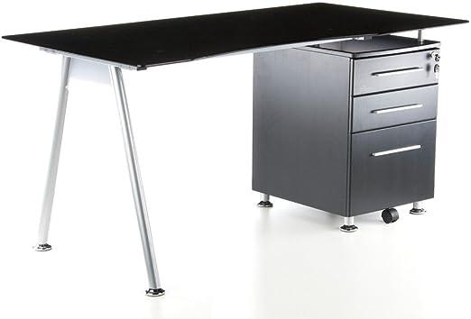 hjh OFFICE 673935 START-UP - Escritorio grafito / vidrio negro con ...