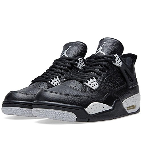 Nike Zapatillas De Baloncesto Air Jordan 4 Retro Ls Oreo Black / Tech, De Cuero Gris, Negras / Tech Grey