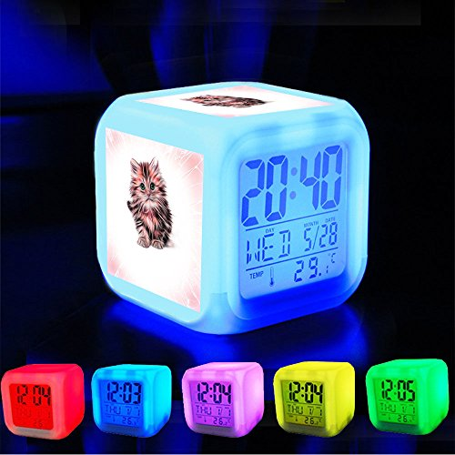 Alarm Clock 7 LED Color Changing Wake Up Bedroom with Data and Temperature Display (Changable Color) Customize the pattern-234.Fart Animal Cat Pussy Matou Feline Kitten