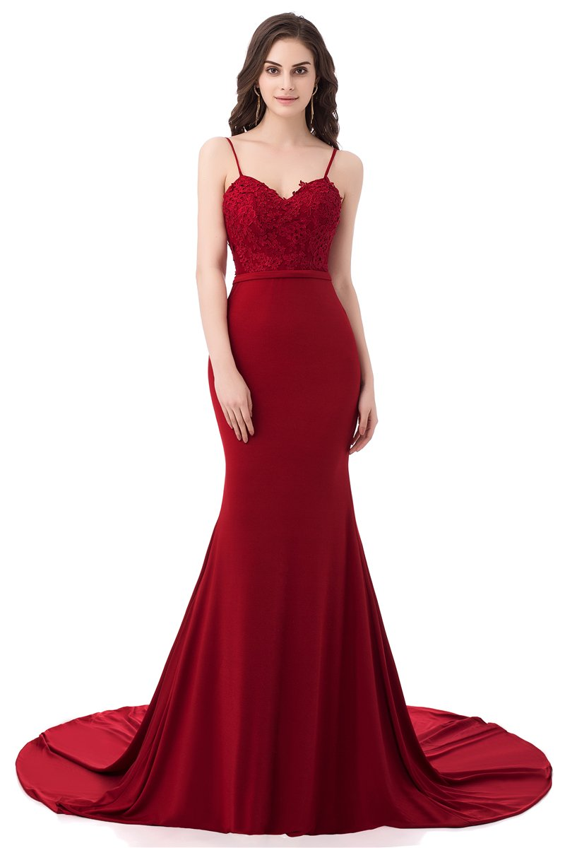 Ruolai Asa Bridal Women's Long Prom Dress Mermaid Lace Evening Gown burgundy 6