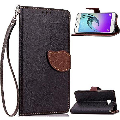 JIALUN-Personality teléfono shell Funda Samsung A310, hoja del caso del cierre magnético del tirón del caso del soporte Funda de piel suave del silicón del caso del monedero de la cubierta para Samsun Black