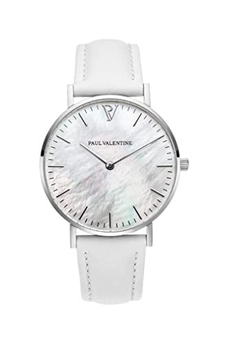 Paul Valentine Silver Seashell - Reloj de Pulsera para Mujer (36 mm), Color Blanco: Amazon.es: Relojes