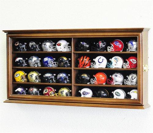 32 Pocket Pro Mini Helmet Display Case Cabinet w/ALL 32 Mini Helmets INCLUDED!! (Walnut Wood Finish) -