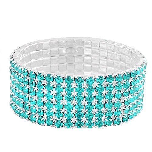 Falari Rhinestone Crystal Stretch Bracelet Sparkle Wedding Bridal 6 Rows Aqua-Blue (Rhinestone Aqua Bracelet)